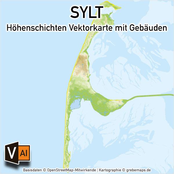 Sylt Vektorkarte Höhenschichten – Karte Mit Gebäuden (DIN A4)