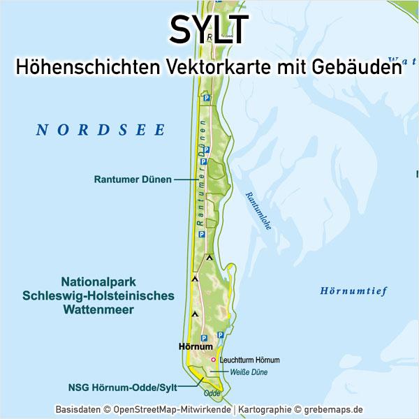 Sylt Vektorkarte Höhenschichten Basiskarte, Karte Insel Sylt, Inselkarte Sylt, Landkarte Sylt, Karte Sylt physisch, Physische Karte Sylt, Sylt Karte Vektor bearbeitbar, Sylt Vektor-Karte