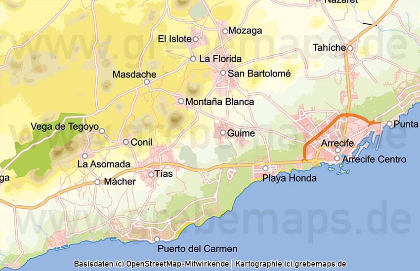 Karte Lanzarote, Lanzarote Vektorkarte Topographie Gemeinden Höhenschichten, Karte Lanzarote, Vektorkarte Lanzarote, Landkarte Lanzarote, Inselkarte Lanzarote, Karte Lanzarote Druck, Karte Lanzarote Vektor