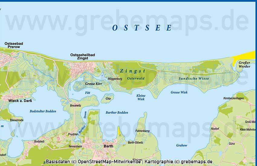 Fischland-Darß-Zingst Vektorkarte Basiskarte, Karte Fischland-Darß-Zinst, Darss, Zingst, Fischland Übersichtskarte Vektor Karte