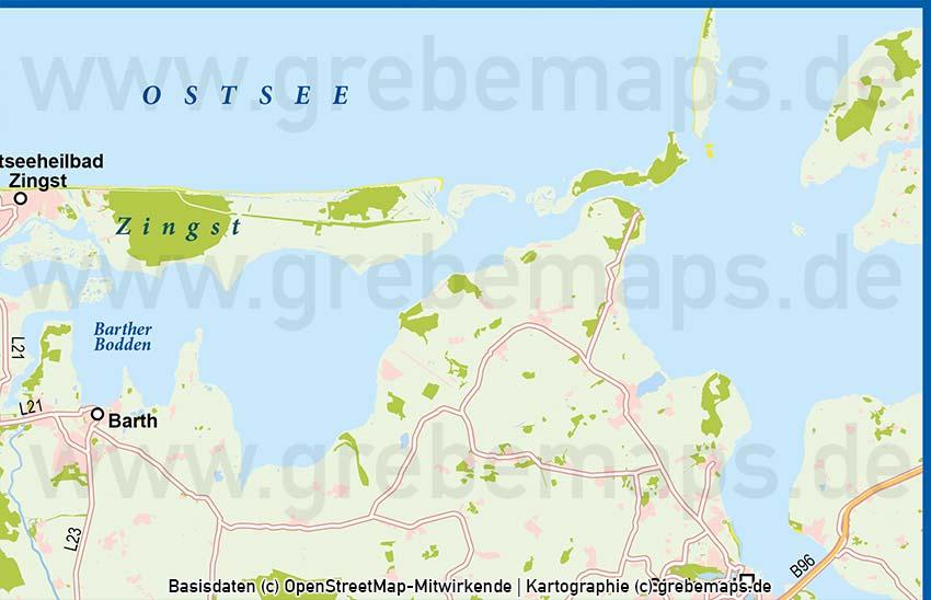 Fischland-Darß-Zingst Vektorkarte (DIN lang)
