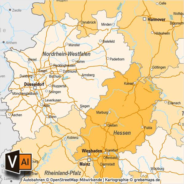 Deutschland Bundesländer Autobahnen Vektorkarte Mit Angrenzenden Ländern, Karte Deutschland Bundesländer, Karte Deutschland Autobahnen, Karte Deutschland Nachbarländer, Karte Vektor Deutschland