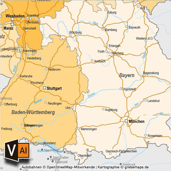 Erlangen Karte Deutschland.Deutschland Bundeslander Autobahnen Vektorkarte Mit Angrenzenden Landern