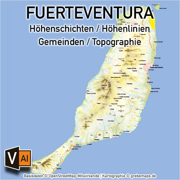 Fuerteventura Vektorkarte Topographie Gemeinden Höhenschichten, Vektorkarte Fuerteventura, Karte Fuerteventura, Landkarte Fuerteventura, Inselkarte Fuerteventura, Karte Fuerteventura Topographie, Karte Fuerteventura Höhenschichten, Karte Fuerteventura Physisch