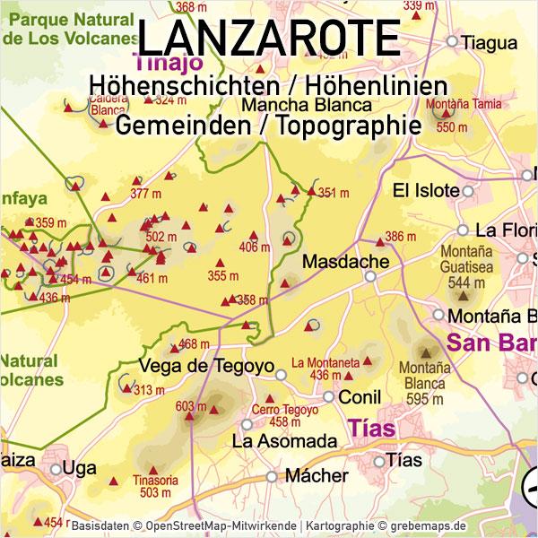 Lanzarote Vektorkarte Topographie Gemeinden Höhenschichten, Karte Lanzarote, Vektorkarte Lanzarote, Landkarte Lanzarote, Inselkarte Lanzarote, Karte Lanzarote Druck, Karte Lanzarote Vektor