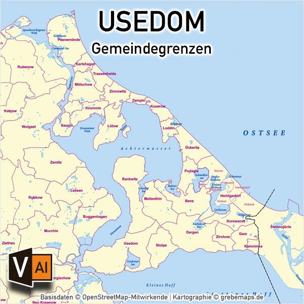 Usedom Vektorkarte Gemeinden