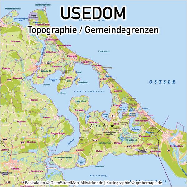 Usedom Vektorkarte Topographie Mit Gemeindegrenzen Grebemaps