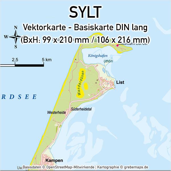 Sylt Vektorkarte Basiskarte (DIN lang), Karte Sylt, Karte Insel Sylt, Karte Sylt für Flyer, Inselkarte Sylt, Vektorkarte Sylt, Karte Sylt für Print, Vektorgrafik Sylt, Karte Vektor Sylt Print