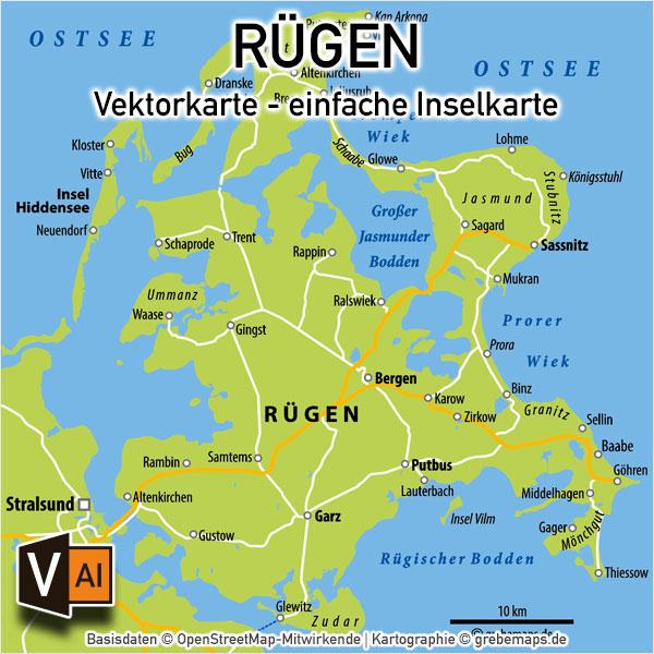 Rügen Vektorkarte Einfache Inselkarte (9×9 Cm)