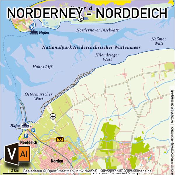 Norderney - Norddeich Vektorkarte Infokarte, Karte Insel Norderney Norddeich, Vektorkarte Norderney Norddeich
