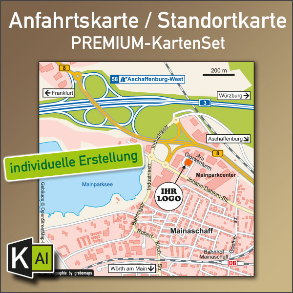 KartenDesign: Anfahrtskarte Erstellen / Standortkarte Erstellen (PREMIUM-KartenSet)