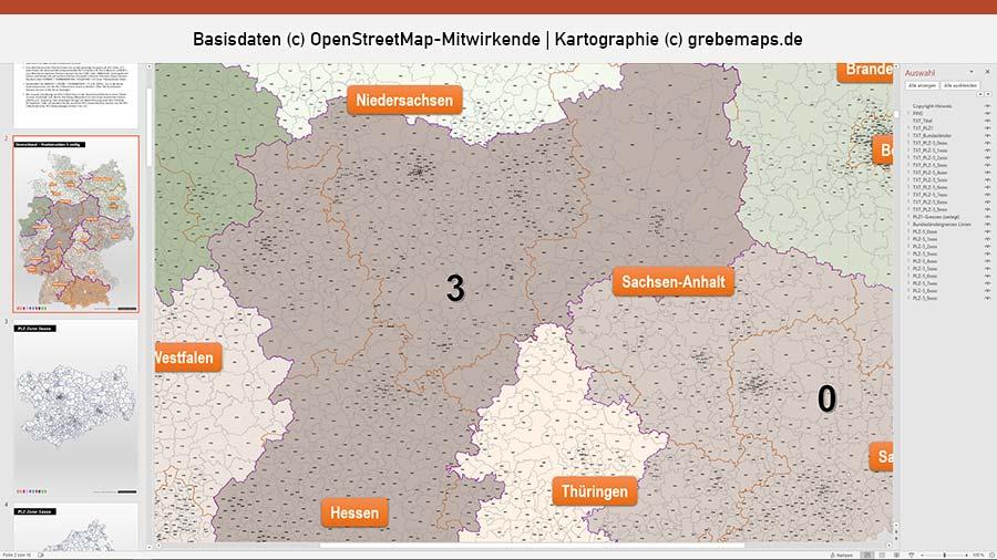 Deutschland PowerPoint-Karte Postleitzahlen PLZ-5 (5-stellig), PLZ-Karte Deutschland, Karte PLZ Deutschland 5-stellig, Karte PLZ PowerPoint 5-stellig Deutschland, Deutschland-Karte PLZ, Postleitzahlen, 5-stellig, PLZ 5