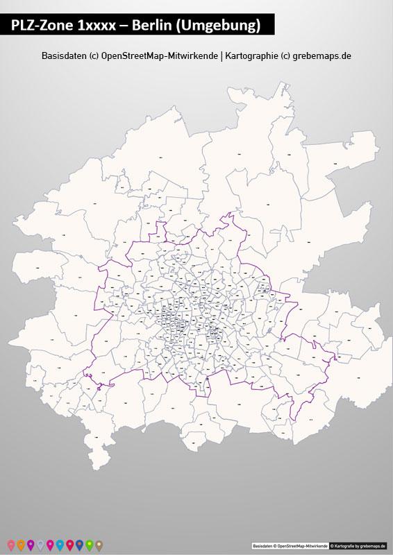 Deutschland PowerPoint-Karte PLZ-Zone 1 (Postleitzahlen 5-stellig), Karte PLZ-Zone 1 Deutschland, Postleitzahlen Zone 1 Karte Deutschland
