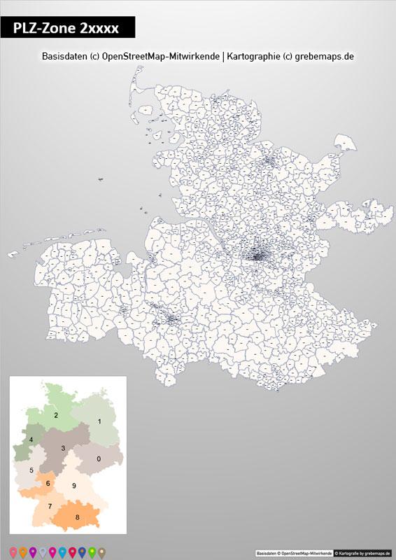 Deutschland PowerPoint-Karte PLZ-Zone 2 (Postleitzahlen 5-stellig) Mit Hamburg, Karte PLZ-Zone 2 Deutschland, Postleitzahlen Zone 2 Karte Deutschland Mit Hamburg