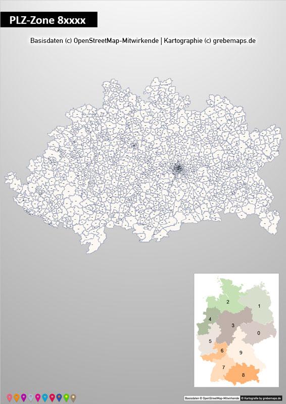 Deutschland PowerPoint-Karte PLZ-Zone 8 (Postleitzahlen 5-stellig) Mit München, Karte PLZ-Zone 8 Deutschland, Deutschland Karte Postleitzahlenzone 8 Mit München