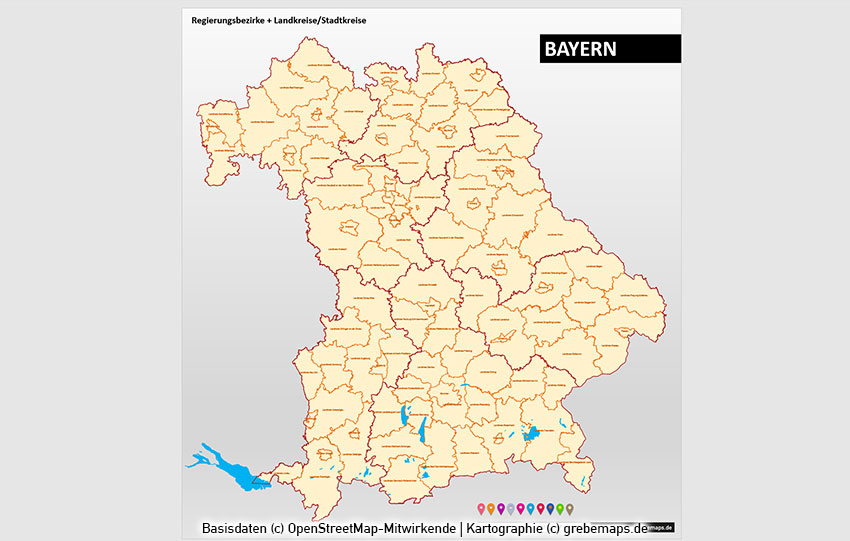 Bayern PowerPoint-Karte Landkreise Gemeinden, Karte Gemeinden Bayern PowerPoint, Karte Landkreise Bayern PowerPoint
