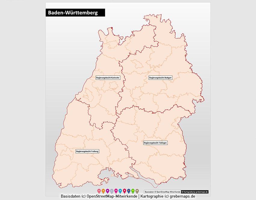 Baden-Württemberg PowerPoint-Karte Landkreise Postleitzahlen PLZ-5 (5-stellig), Karte PLZ 5-stellig Baden-Württemberg für PowerPoint, PLZ-Karte BW, Karte PLZ BW, Baden-Württemberg Postleitzahlen 5-stellig Karte, Karte Landkreise Stadtkreise Baden-Württemberg