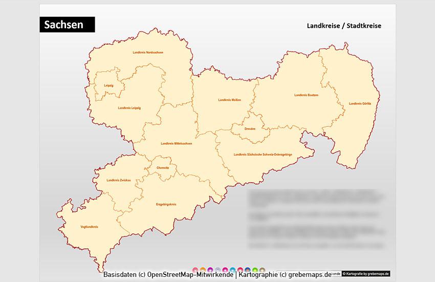 Sachsen PowerPoint-Karte Landkreise Gemeinden Postleitzahlen PLZ-5, Karte Sachsen Landkreise, Karte Sachsen Gemeinden, Karte Sachsen Postleitzahlen
