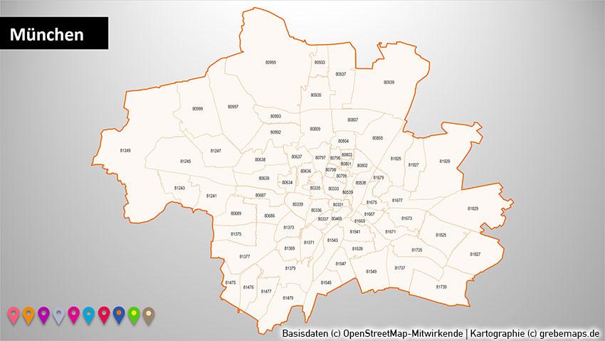 Stadtkarten PowerPoint-Karte Postleitzahlen PLZ-5 Berlin Hamburg München Köln, Postleitzahlen-Karte Berlin PowerPoint, Postleitzahlen-Karte Hamburg PowerPoint, Postleitzahlen-Karte München PowerPoint, Postleitzahlen-Karte Köln PowerPoint