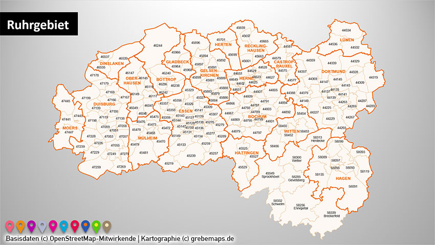 Karte Ruhrgebiet.Powerpoint Karte Ruhrgebiet Postleitzahlen Plz 5 Plz 5 Stellig