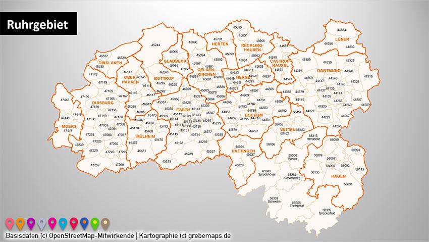 Ruhrgebiet Postleitzahlen PLZ-5 PowerPoint-Karte (PLZ 5-stellig), Postleitzahlenkarte Ruhrgebiet, PLZ-Karte Ruhrgebiet, Vektorkarte Ruhrgebiet, PLZ-Karte Dortmund, PLZ-Karte Essen, PLZ-Karte Bochum, PLZ-Karte Duisburg