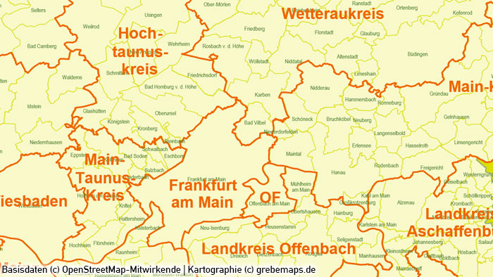 Rhein-Main-Gebiet Gemeinden Landkreise PowerPoint-Karte, Karte Gemeinden Rhein-Main-Gebiet, Karte Gemeinden Landkreise Rhein-Main-Region, Karte Region Rhein-Main Gemeinden Landkreise