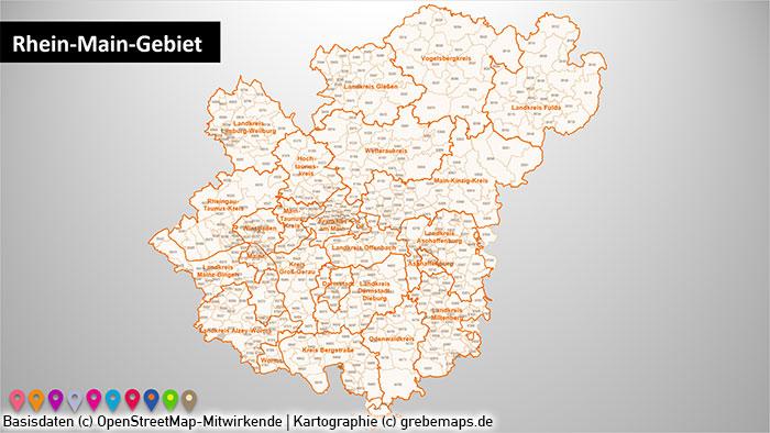 Rhein-Main-Gebiet Gemeinden Postleitzahlen PLZ-5 PowerPoint-Karte (PLZ 5-stellig), Karte Gemeinden Rhein-Main-Gebiet, Karte Gemeinden Metropolregion Frankfurt, Karte Gemeinden Region Frankfurt
