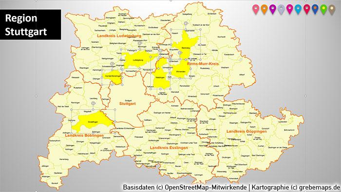 Region Stuttgart Gemeinden Landkreise PowerPoint-Karte, Karte Region Stuttgart Gemeinden
