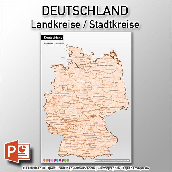 Deutschland PowerPoint-Karte Landkreise (DIN A3)