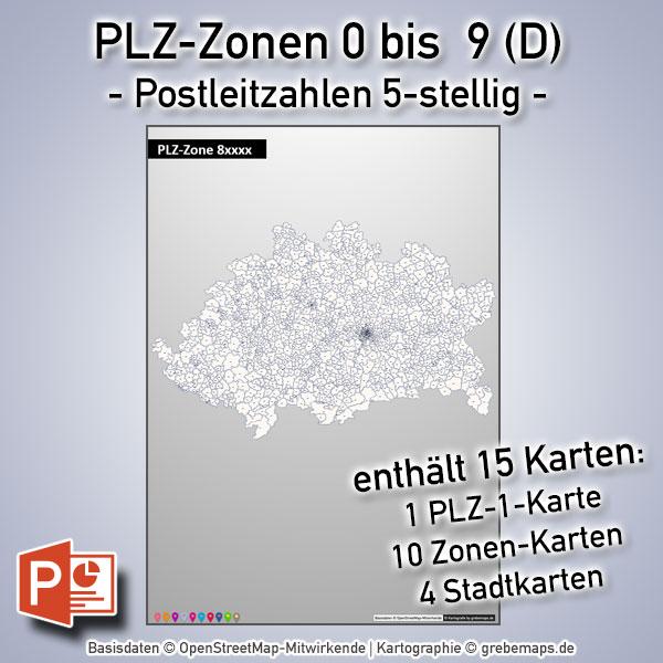 Deutschland PowerPoint-Karte PLZ-Zone 0 Bis 9 Postleitzahlen 5-stellig (Bundle Mit 15 Karten), Karte Postleitzahlen Deutschland Nach PLZ-Zonen Mit Den Jeweiligen 5-stelligen PLZ-Bereichen, Karte PLZ Deutschland Für PowerPoint