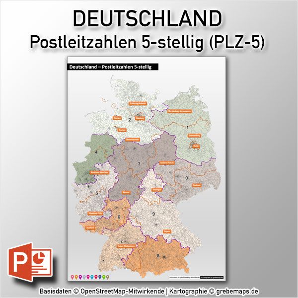 PowerPoint-Karte Deutschland Postleitzahlen PLZ-5 (5-stellig) DIN A0, Mit Zusätzlichen 10 PLZ-Zonen-Einzelkarten Und 4 PLZ-5-Stadtkarten