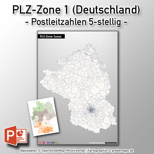 PowerPoint-Karte Deutschland PLZ-Zone 1 (Postleitzahlen 5-stellig) Mit Berlin