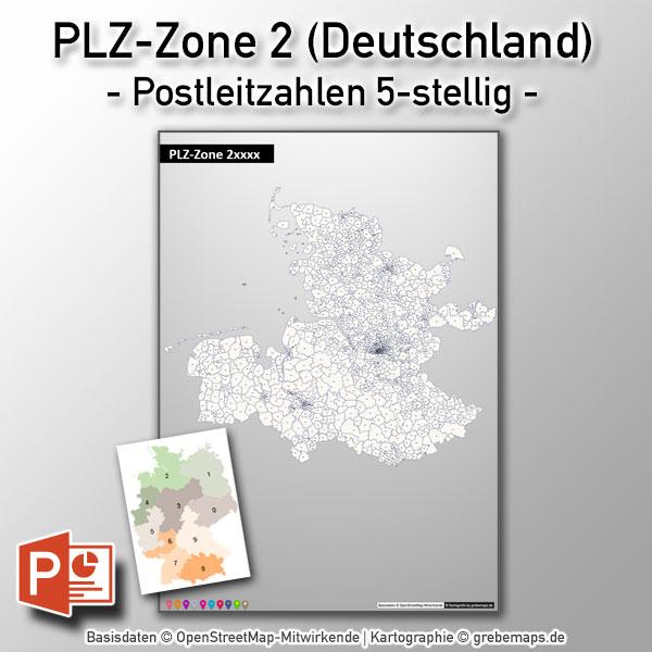 PowerPoint-Karte Deutschland PLZ-Zone 2 (Postleitzahlen 5-stellig) Mit Hamburg