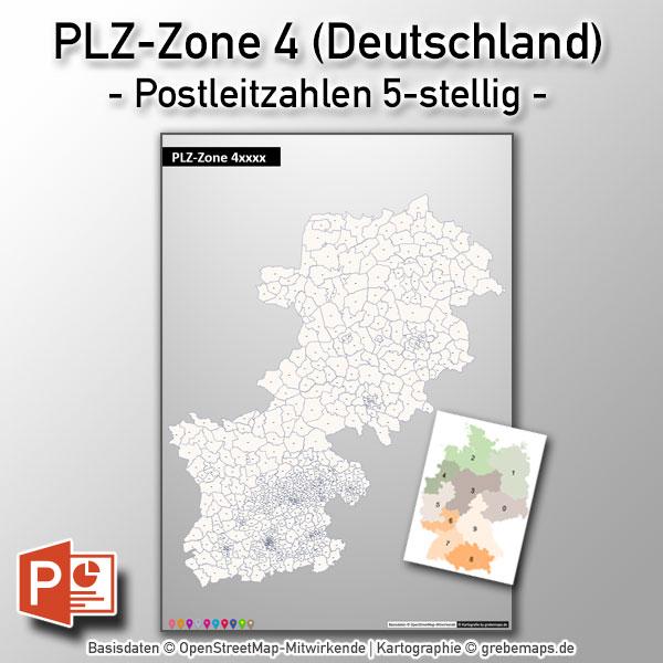 PowerPoint-Karte Deutschland PLZ-Zone 4 (Postleitzahlen 5-stellig)
