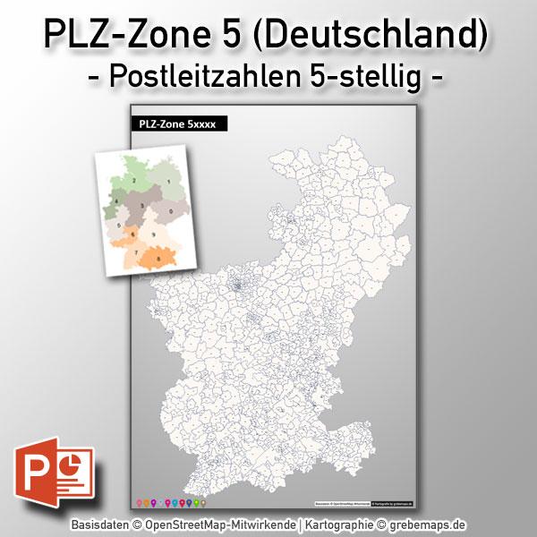 PowerPoint-Karte Deutschland PLZ-Zone 5 (Postleitzahlen 5-stellig) Mit Köln/Bonn