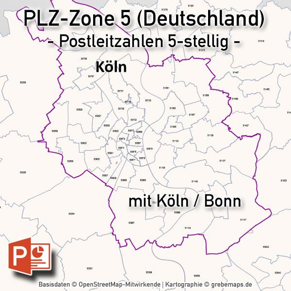 Köln Karte Deutschland.Powerpoint Karte Deutschland Plz Zone 5 Postleitzahlen 5 Stellig Mit Köln Bonn