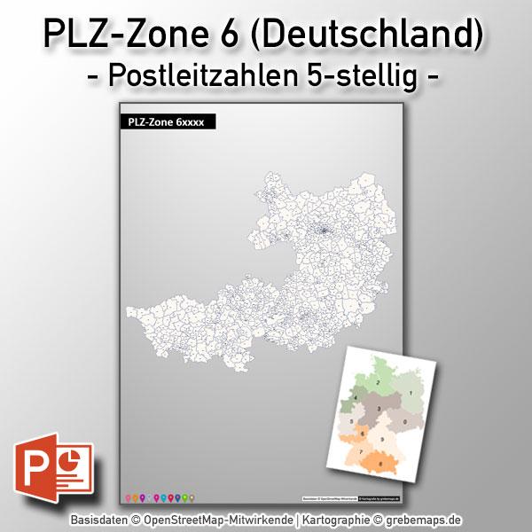 PowerPoint-Karte Deutschland PLZ-Zone 6 (Postleitzahlen 5-stellig)