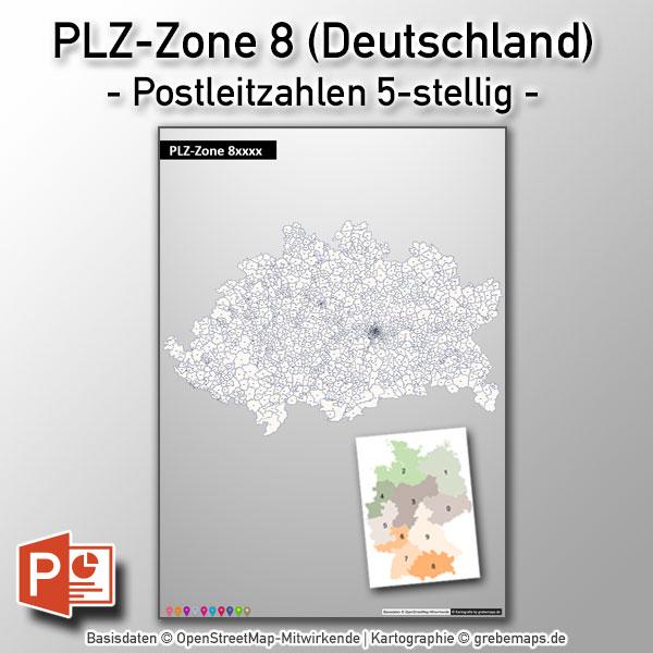 PowerPoint-Karte Deutschland PLZ-Zone 8 (Postleitzahlen 5-stellig) Mit München