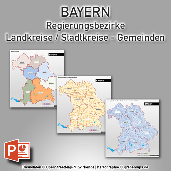 PowerPoint-Karte Bayern Landkreise Gemeinden