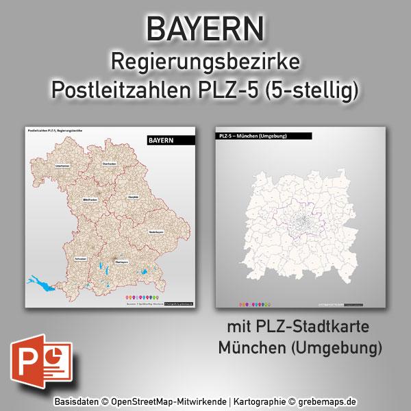 PowerPoint-Karte Bayern Postleitzahlen PLZ-5 (5-stellig) Mit München