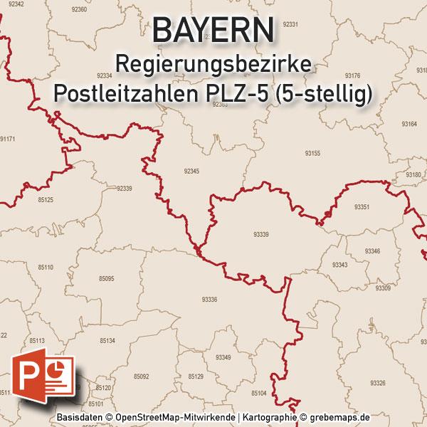 Bayern PowerPoint-Karte Postleitzahlen PLZ-5 (5-stellig) Mit München, Karte Postleitzahlen Bayern, PLZ-Karte Bayern, Postleitzahlenkarte Bayern