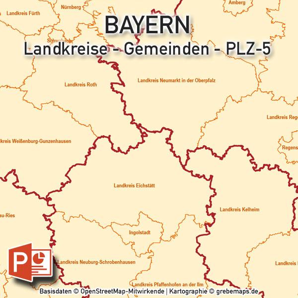 Plz Karte Bayern.Powerpoint Karte Bayern Landkreise Gemeinden Postleitzahlen Plz 5