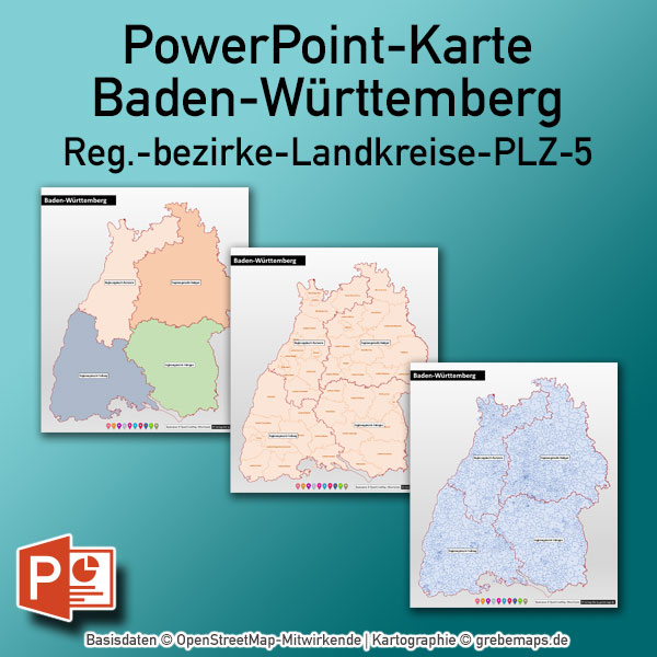 Baden-Württemberg PowerPoint-Karte Landkreise Postleitzahlen PLZ-5 (5-stellig)