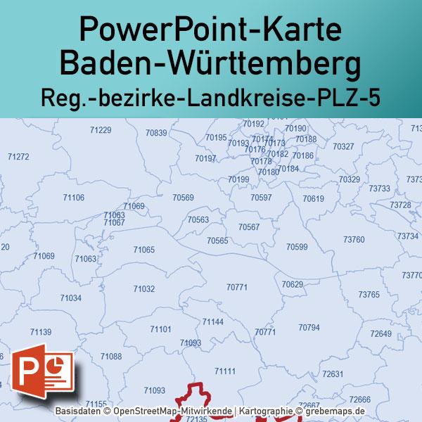 Baden Wurttemberg Powerpoint Karte Landkreise Postleitzahlen