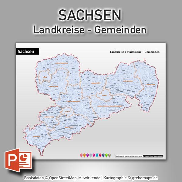 PowerPoint-Karte Sachsen Landkreise Gemeinden