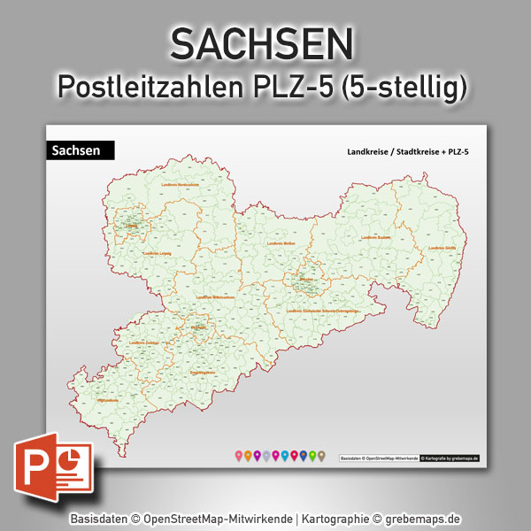 Sachsen PowerPoint-Karte Postleitzahlen PLZ-5 (5-stellig) Mit Landkreisen