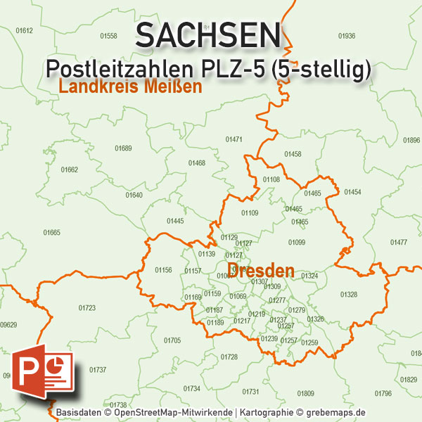 Sachsen PowerPoint-Karte Postleitzahlen PLZ-5 (5-stellig) Landkreise / Stadtkreise, Karte Sachsen Landkreise, Karte Sachsen Postleitzahlen