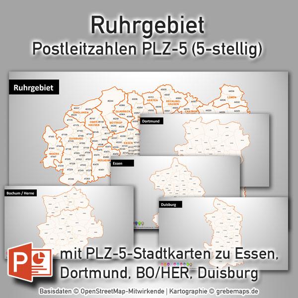 PowerPoint-Karte Ruhrgebiet Postleitzahlen PLZ-5 (PLZ 5-stellig)
