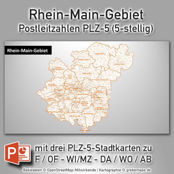 Rhein Main Gebiet Postleitzahlen Plz 5 Powerpoint Karte Plz 5