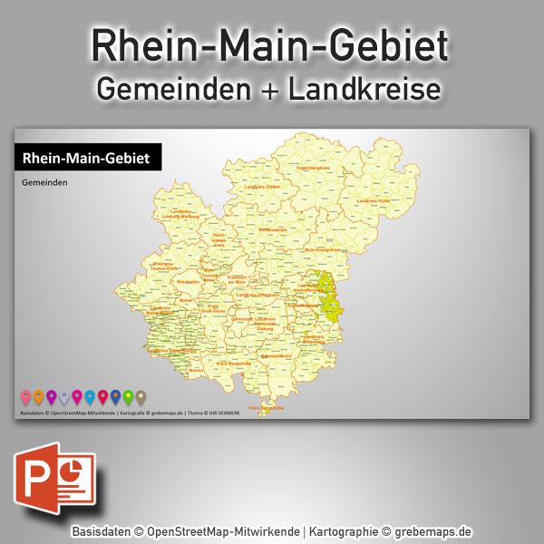 PowerPoint-Karte Rhein-Main-Gebiet Gemeinden Landkreise